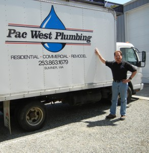 Kevin with Pac West Plumbing service truck